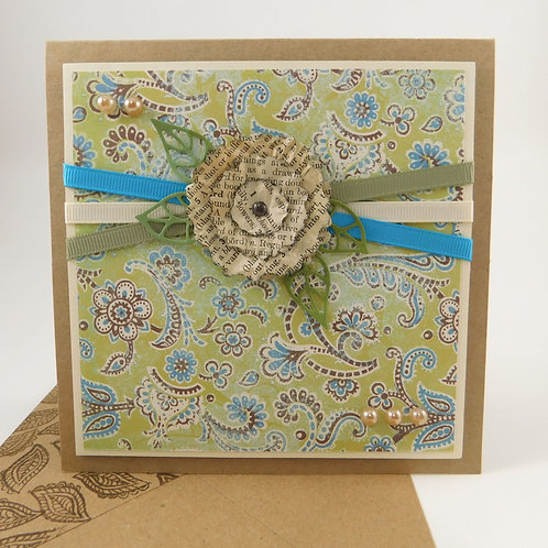 Handmade All Occasion Greeting Card Boho Paper flower ribbon die cut pearls