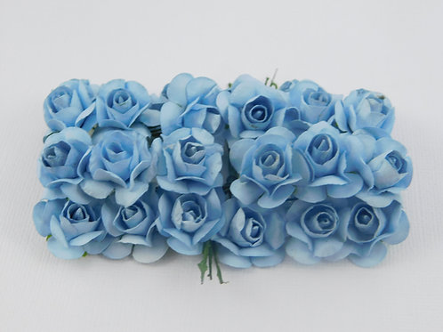 Light Blue Mini Paper Flowers roses with stems supply Floral Flowers craft sc