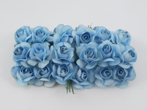 Light Blue Mini Paper Flowers Roses With Stems Supply Floral Flowers