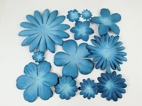 Petaloo Paper flowers Sampler Assort Marine Blues Dusty Blue scrapbook supplies