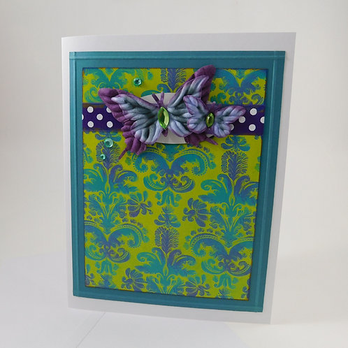 Handmade All Occasion Greeting Card Paper butterflies teal purple