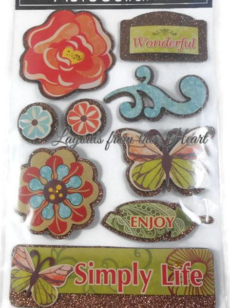 Flower Simply Life Wonderful layered stickers 3D glitter butterfly enjoy copper