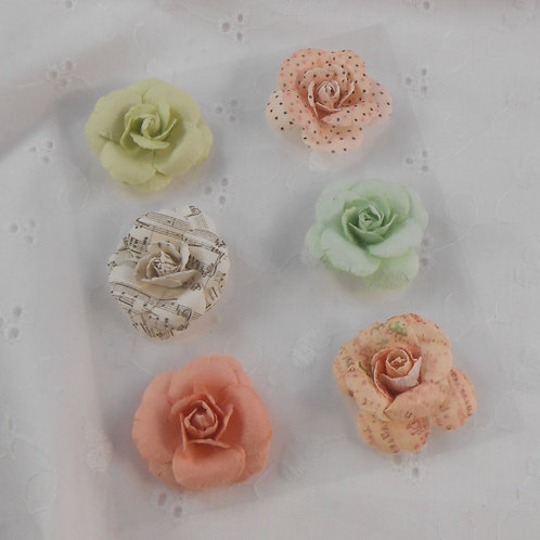 Paper Flowers Roses Light Pastel Colors and patterns embellishments