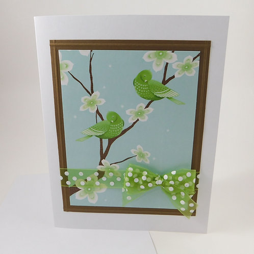 Handmade All Occasion Greeting Card Paper green birds brown white