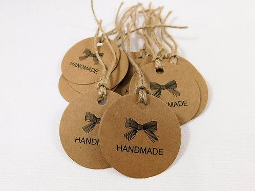 20 Handmade tags kraft brown natural cardstock scrapbooking tags round