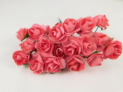 2 cm Strawberry Pink Mini Paper Flowers roses stems floral embellishment supply