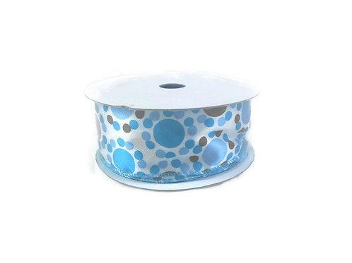 Light blue brown dots Satin Ribbon wire edged 16 feet 1 1/2 inch wide trim