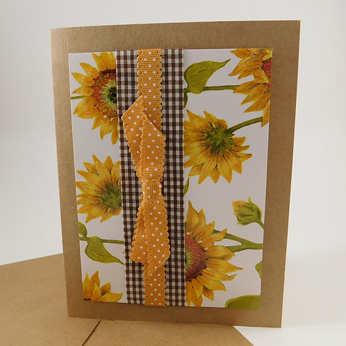 Handmade All Occasion Greeting Card Sunflowers gingham dots brown