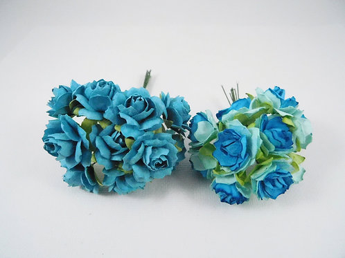 1 inch Scrapbooking Paper Flowers Jasmine with stems Floral Turquoise roses