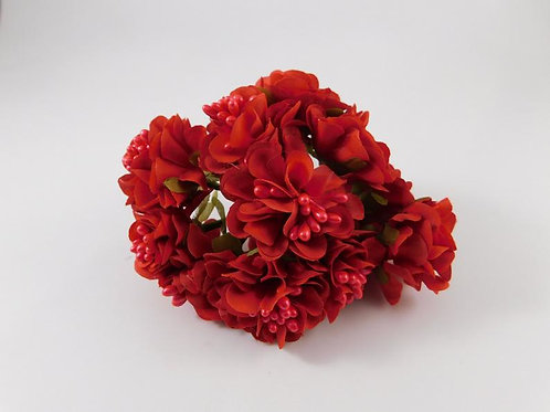 Artificial Fabric Silk Flowers Marigolds on Stems Red Embellishments Floral