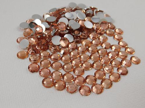 60 Pink Champagne Flatback Round Rhinestones 7mm bling gems golden