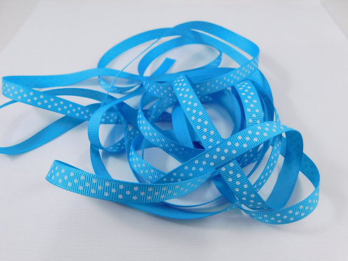 4 Yards Turquoise with White Dots Grosgrain Ribbon 3/8 inch wide embellishme