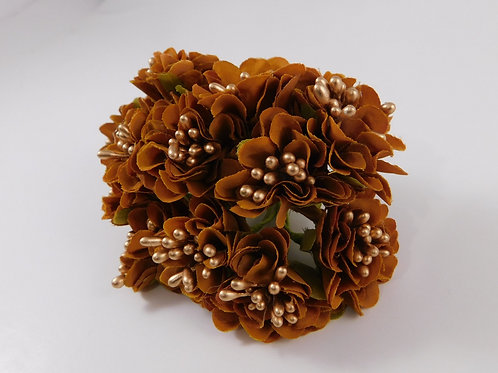 Artificial Fabric Silk Flowers Marigolds on Stems Brown scrapbooking hair access