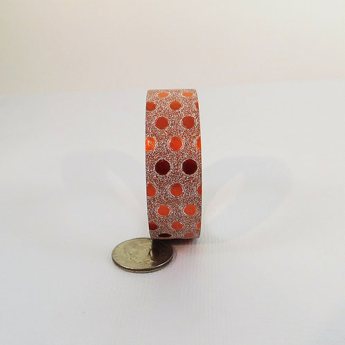Orange Glitter and Foil Polka Dots Washi Tape 15mm 3.5 meters craft supplies