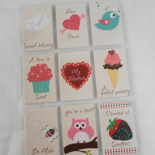 Rectangle Sticker Embellishments Owl Bee Cupcake valentine bird note