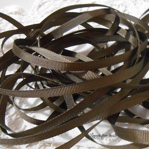 Chocolate Brown Grosgrain Ribbon embellishment 1/4 inch scrapbooking