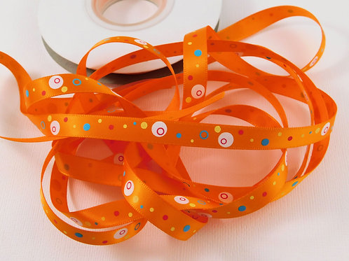 5 Yards Orange with Dots Circles Single Faced Satin Ribbon 3/8 inc