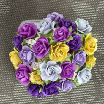 Prima Flowers Mini Sachet Pansy Paper Roses with Stems 565978 Scrapbooking
