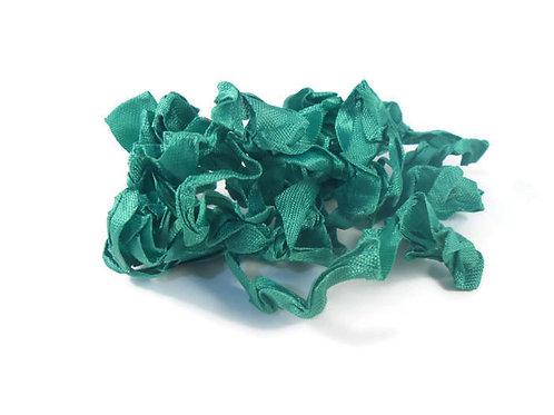 Green Wrinkled Ribbon Handmade 4 Yards Embellishment trim craft supplies