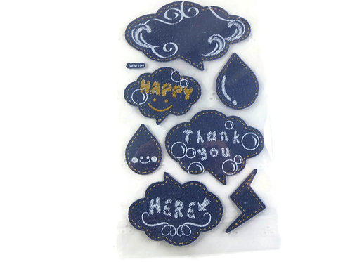 Denim look embellishments scrapbooking crafts stickers chalk stitches