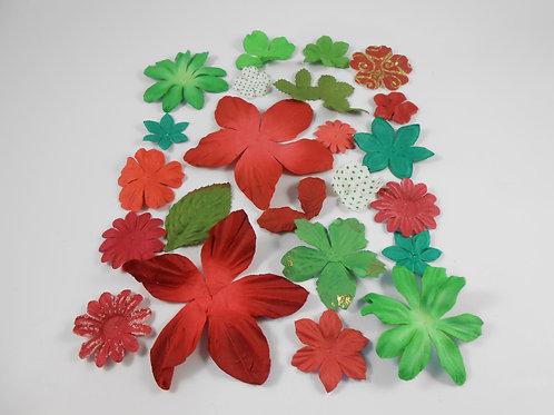 Prima Paper Flowers Green Red Assort No. 405 Got Flowers Flourish floral