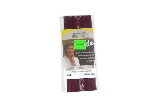 Flexi lace seam binding stretchable 3 yards new in package Wine 090