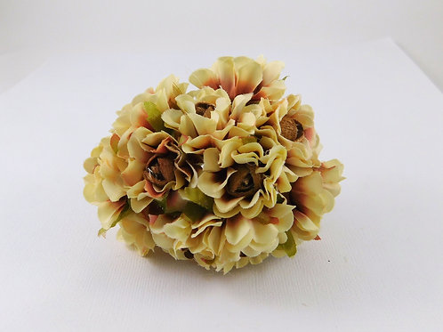 3.5cm Brown Cream Fabric Flowers with stems Artificial floral embellishment