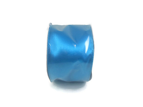 Solid Blue Teal Satin Ribbon wire edges 16 feet, 2 1/2 inch crafts