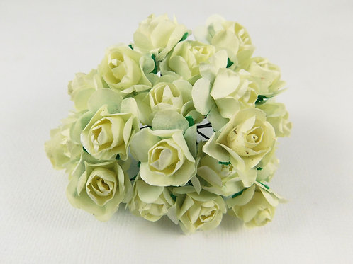 2 cm Off White Mini Paper Flowers roses with stems Floral embellishment scrapboo