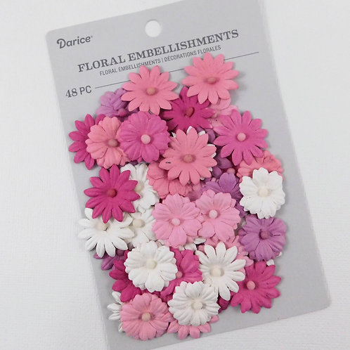 Darice Button Daisy Flowers Pink Pack 30062017 mulberry paper flowers craft