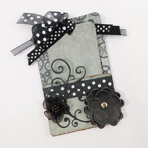 Handmade tag and holder journaling tag ribbons black grey dark teal white