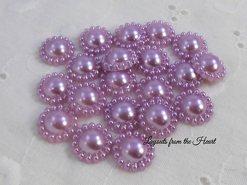 Light Purple Flat Back Pearl Flower Embellishments 12 mm Embellishmen