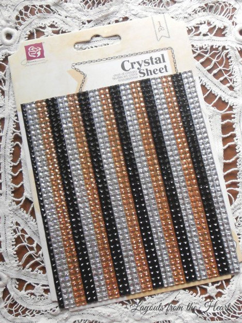 Prima Say it in Crystals Sheet Gold Black Silver 563332 Self adhesive
