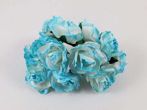 3cm Aqua Blue White Mini Paper Flowers roses with stems supply Floral craft scra
