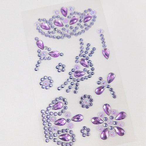 Purple Flourish Crown Heart Dragonfly Flowers AB Sticker Floral Scrapbooking