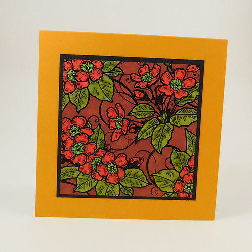 Handmade All Occasion Greeting Card Embossed Background Hand Colored Orange