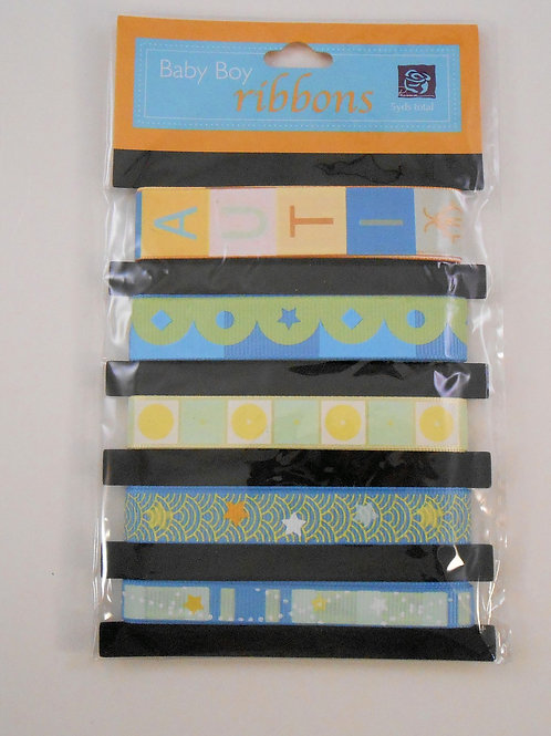 Prima Baby Boy Ribbons pack stars stripes blue yellow green craft Scrapbooking
