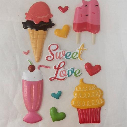 Sweet Love Sticker Embellishments Cute ice cream treats hearts puffy