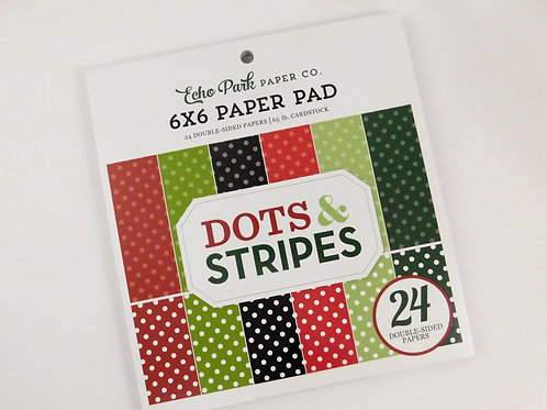 Echo Park 6 x 6 Paper Pad Dots and Stripes Christmas Collection 24 pages 65 lb