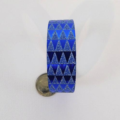 Blue Glitter Metallic Triangles Washi Tape Roll 15mm 3.5 meters (3.83 yards) Emb