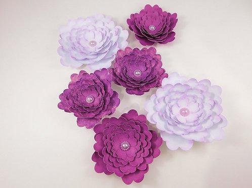 Large Handmade Paper Flowers White Purple embellishments accessories scrapbookin