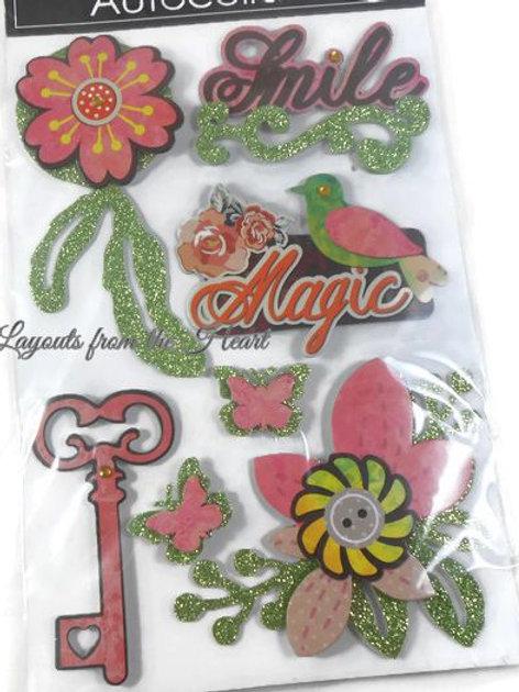 Paper Flower Smile Magic stickers 3D glitter bird key butterflies