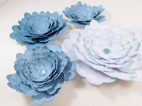 Large Handmade Paper Flowers White Weathered Muted Blue embellishments scrapbook