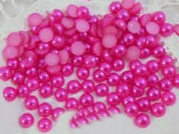 Rose Colored Pink Acrylic Flat back Pearls 100 per pack 6 mm Half Bright Craft
