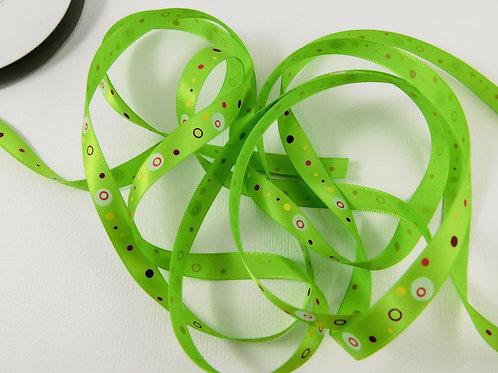 5 Yards Green with Dots Circles Single Faced Satin Ribbon 3/8 inc
