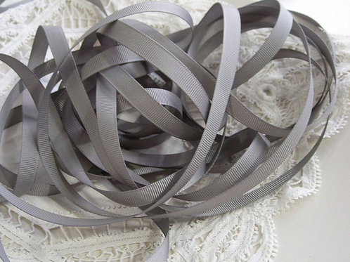 5 Yards Grey (gray) Grosgrain Ribbon 3/8 inch trim embellishment scrapbooking