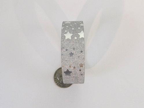 Silver Glitter Metallic Scatter Stars Washi Tape Roll 15mm 3.5 meters