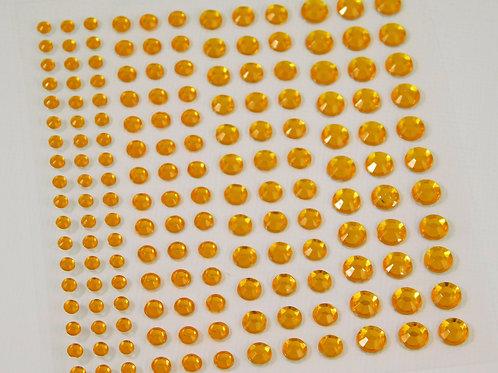 Assorted Size Self adhesive Rhinestones Light Orange Flat back 3 mm 4 mm 5 mm