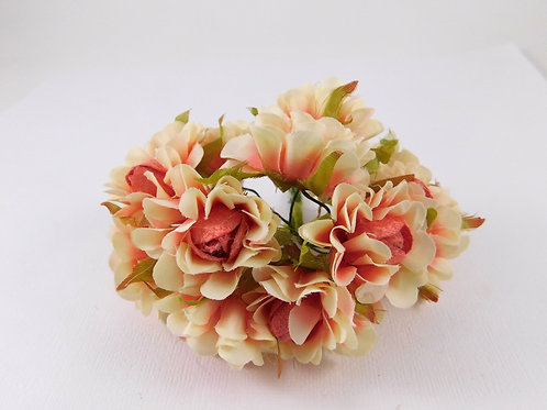 3.5cm Coral Pink Ivory Fabric Flowers with stems supply Floral craft scrapbookin