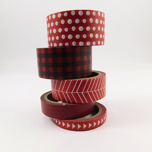 Washi Tape The Paper Studio Basic Deco Tape Red White Stripes dots arrows plaid